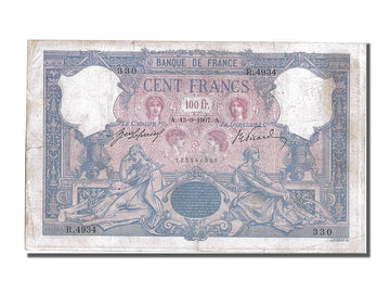 Banknote, France, 100 Francs, 100 F 1888-1909 ''Bleu et Rose'', 1907