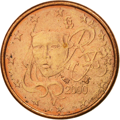 France, Euro Cent, 2000, AU(55-58), Copper Plated Steel, KM:1282