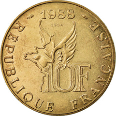 Coin, France, 10 Francs, 1988, MS(65-70), Aluminum-Bronze, Gadoury:821