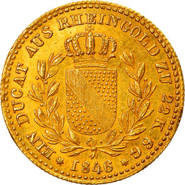 Coin, German States, BADEN, Ducat, 1846, Very rare, MS(60-62), Gold, KM:215