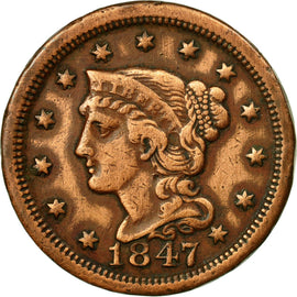 Coin, United States, Braided Hair Cent, Cent, 1847, U.S. Mint, Philadelphia