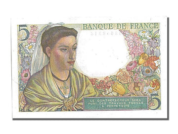 Banknote, France, 5 Francs, 5 F 1943-1947 ''Berger'', 1943, 1943-06-02