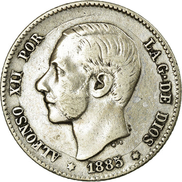 Coin, Spain, Alfonso XII, Peseta, 1885, EF(40-45), Silver, KM:686