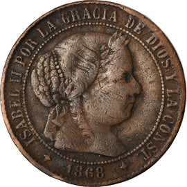 Coin, Spain, Isabel II, 2-1/2 Centimos, 1868, Jubia, VF(30-35), Copper, KM:634.2