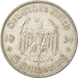 Coin, GERMANY, THIRD REICH, 5 Reichsmark, 1934, Berlin, EF(40-45), Silver, KM:83