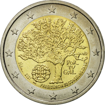 Portugal, 2 Euro, European Union President, 2007, MS(63), Bi-Metallic, KM:772
