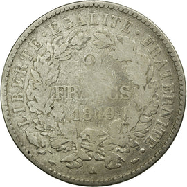 Coin, France, Cérès, 2 Francs, 1849, Paris, VG(8-10), Silver, KM:760.1