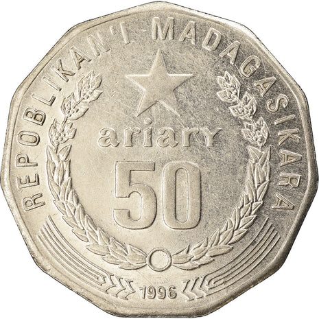 Coin, Madagascar, 50 Ariary, 1996, EF(40-45), Stainless Steel, KM:25.1