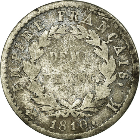 Coin, France, Napoléon I, 1/2 Franc, 1810, Bordeaux, VF(20-25), Silver