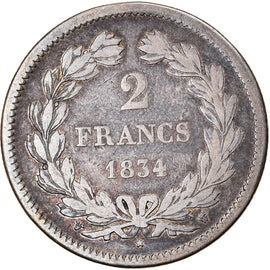 Coin, France, Louis-Philippe, 2 Francs, 1834, Lille, VF(20-25), Silver