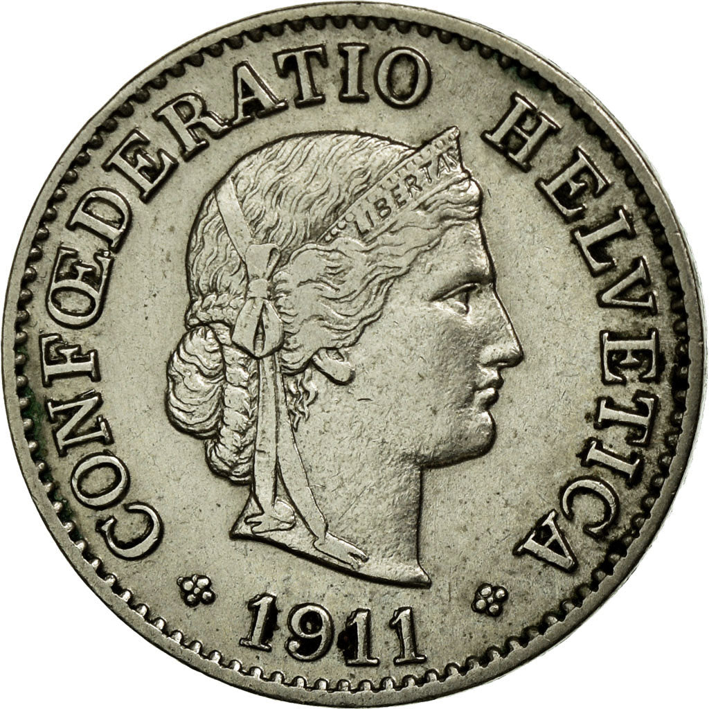 Coin, Switzerland, 5 Rappen, 1911, Bern, AU(55-58), Copper-nickel, KM:26