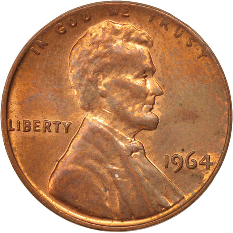 UNITED STATES, Lincoln Cent, Cent, 1964, U.S. Mint, KM #201, AU(55-58), Brass,..