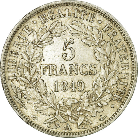 Coin, France, Cérès, 5 Francs, 1849, Paris, EF(40-45), Silver, KM:761.1