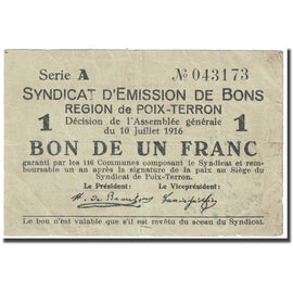 France, Poix-Terron, 1 Franc, 1916, Syndicat d'émission / Bon de, VF(20-25)