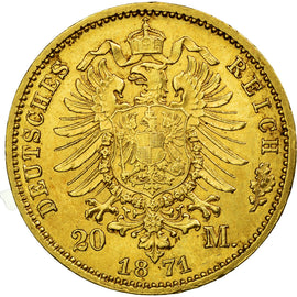 Coin, German States, PRUSSIA, Wilhelm I, 20 Mark, 1871, Berlin, AU(55-58), Gold