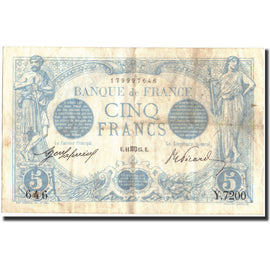 Banknote, France, 5 Francs, 5 F 1912-1917 ''Bleu'', 1915, 1915-08-11, VF(30-35)