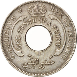 BRITISH WEST AFRICA, George V, 1/10 Penny, 1913, EF(40-45), Copper-nickel, KM:7