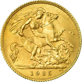Coin, South Africa, George V, 1/2 Sovereign, 1925, AU(55-58), Gold, KM:20