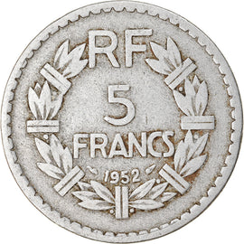 Coin, France, Lavrillier, 5 Francs, 1952, Paris, VF(30-35), Aluminum, KM:888b.1