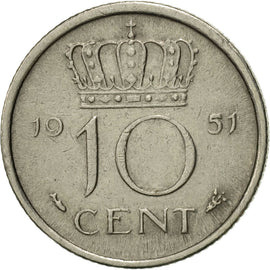 Coin, Netherlands, Juliana, 10 Cents, 1951, MS(60-62), Nickel, KM:182