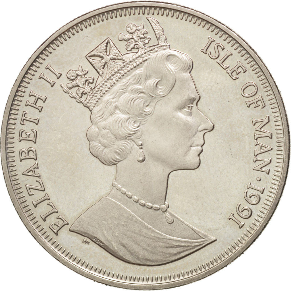 Coin, Isle of Man, Elizabeth II, Crown, 1991, Pobjoy Mint, AU(55-58)