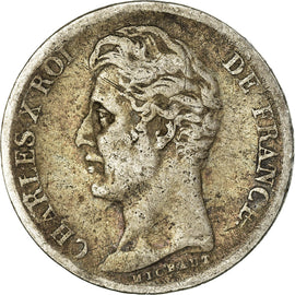 Coin, France, Charles X, Franc, 1828, Bordeaux, VF(20-25), Silver, KM:724.7
