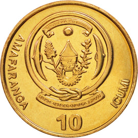 Coin, Rwanda, 10 Francs, 2009, MS(63), Brass plated steel, KM:34