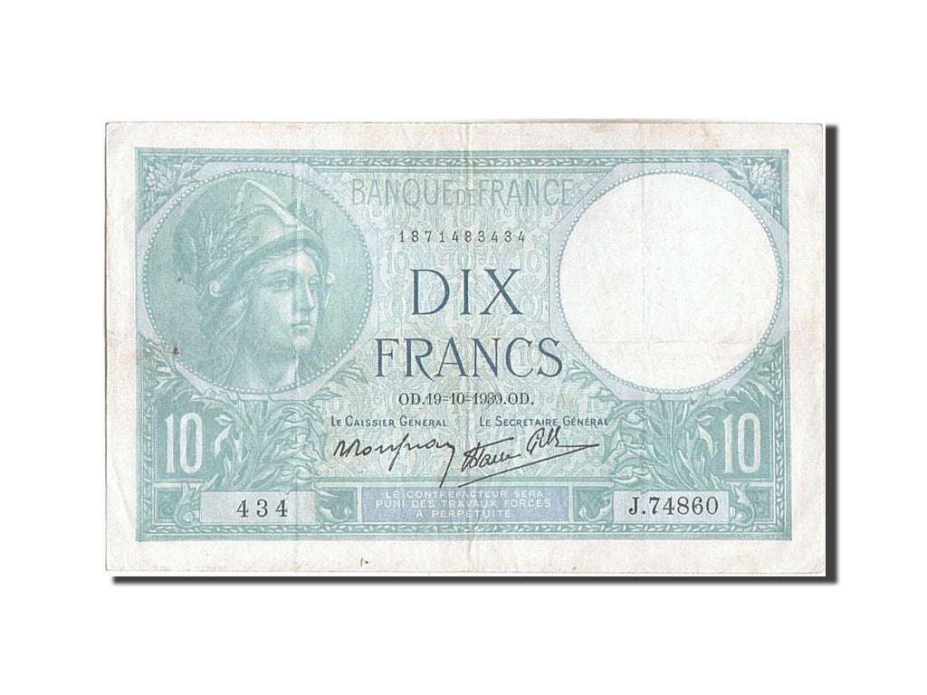 France, 10 Francs, 10 F 1916-1942 ''Minerve'', 1939, KM #84, 1939-10-19,...