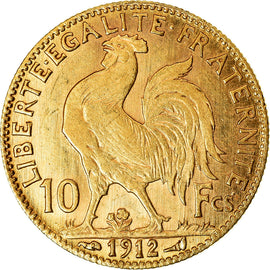 Coin, France, Marianne, 10 Francs, 1912, Paris, AU(55-58), Gold, KM:846