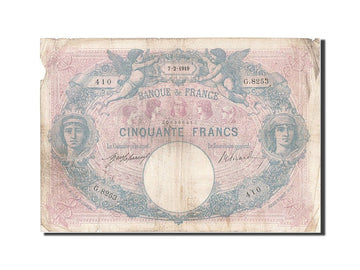 Banknote, France, 50 Francs, 50 F 1889-1927 ''Bleu et Rose'', 1919, 1919-02-07