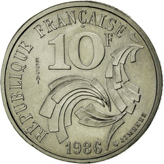 Coin, France, 10 Francs, 1986, MS(65-70), Nickel, KM:E132, Gadoury:824