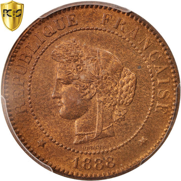Coin, France, Cérès, 5 Centimes, 1888, Paris, PCGS, MS65RB, MS(65-70), Bronze