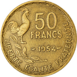 Coin, France, Guiraud, 50 Francs, 1954, Paris, VF(30-35), Aluminum-Bronze