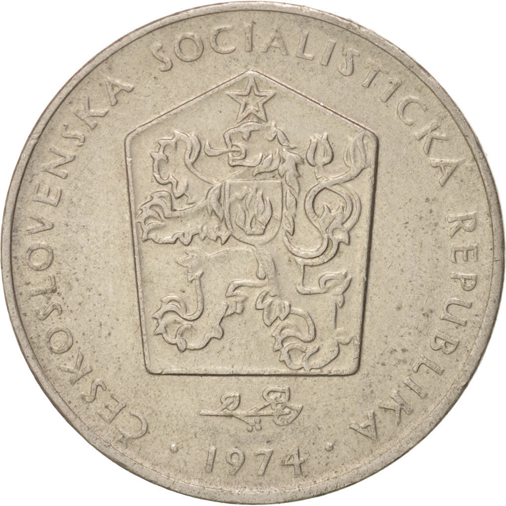 CZECHOSLOVAKIA, 2 Koruny, 1974, KM #75, EF(40-45), Copper-Nickel, 24