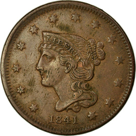 Coin, United States, Braided Hair Cent, Cent, 1841, U.S. Mint, Philadelphia