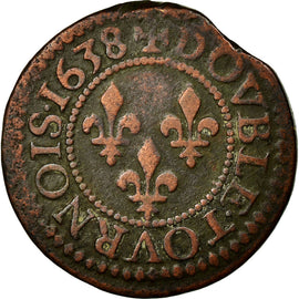 Coin, France, Double Tournois, VF(30-35), Copper, Gadoury:11