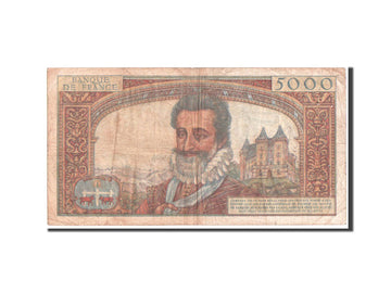 France, 5000 Francs, 5 000 F 1957-1958 ''Henri IV'', 1957, KM #135a, VF(20-25),.