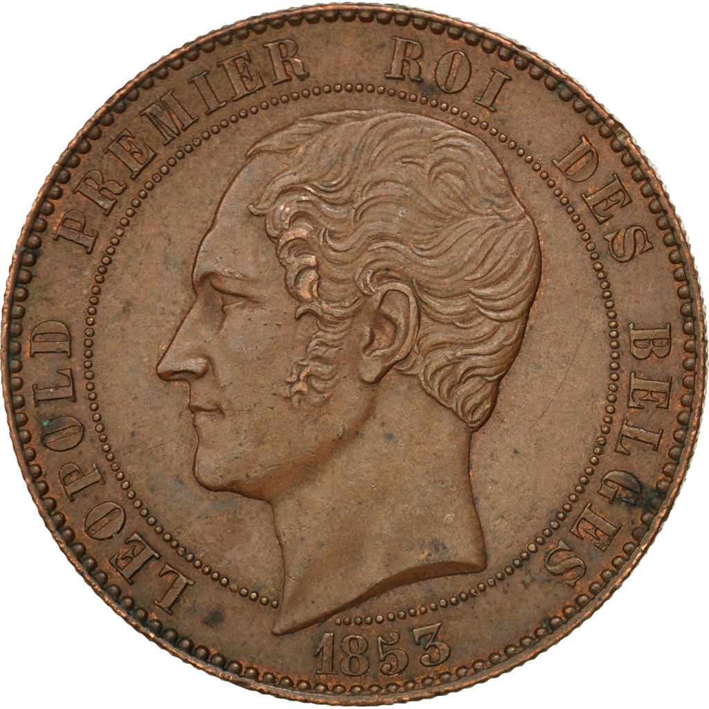 BELGIUM, 10 Centimes, 1853, KM #1.1, AU(50-53), Copper, 19.76