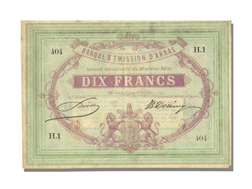 FRANCE, Arras, 10 Francs, 1870, 1870-10-18, EF(40-45), H.1, Jérémie #62.02.C