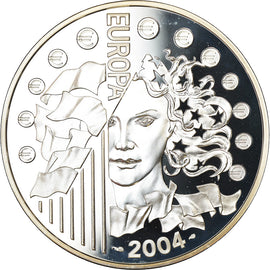 France, 1-1/2 Euro, European Union Expansion, 2004, BE, MS(65-70), Silver