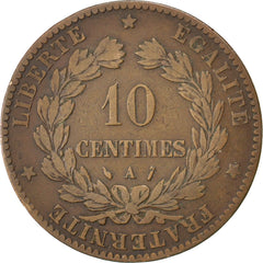 FRANCE, Cérès, 10 Centimes, 1888, Paris, KM #815.1, VF(20-25), Bronze, Gadoury #