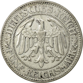 Coin, GERMANY, WEIMAR REPUBLIC, 5 Reichsmark, 1927, Munich, AU(50-53), Silver