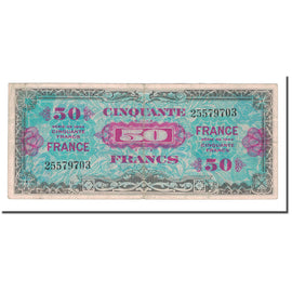 France, 50 Francs, 1944, VF(30-35), Fayette:VF 24.1, KM:117a