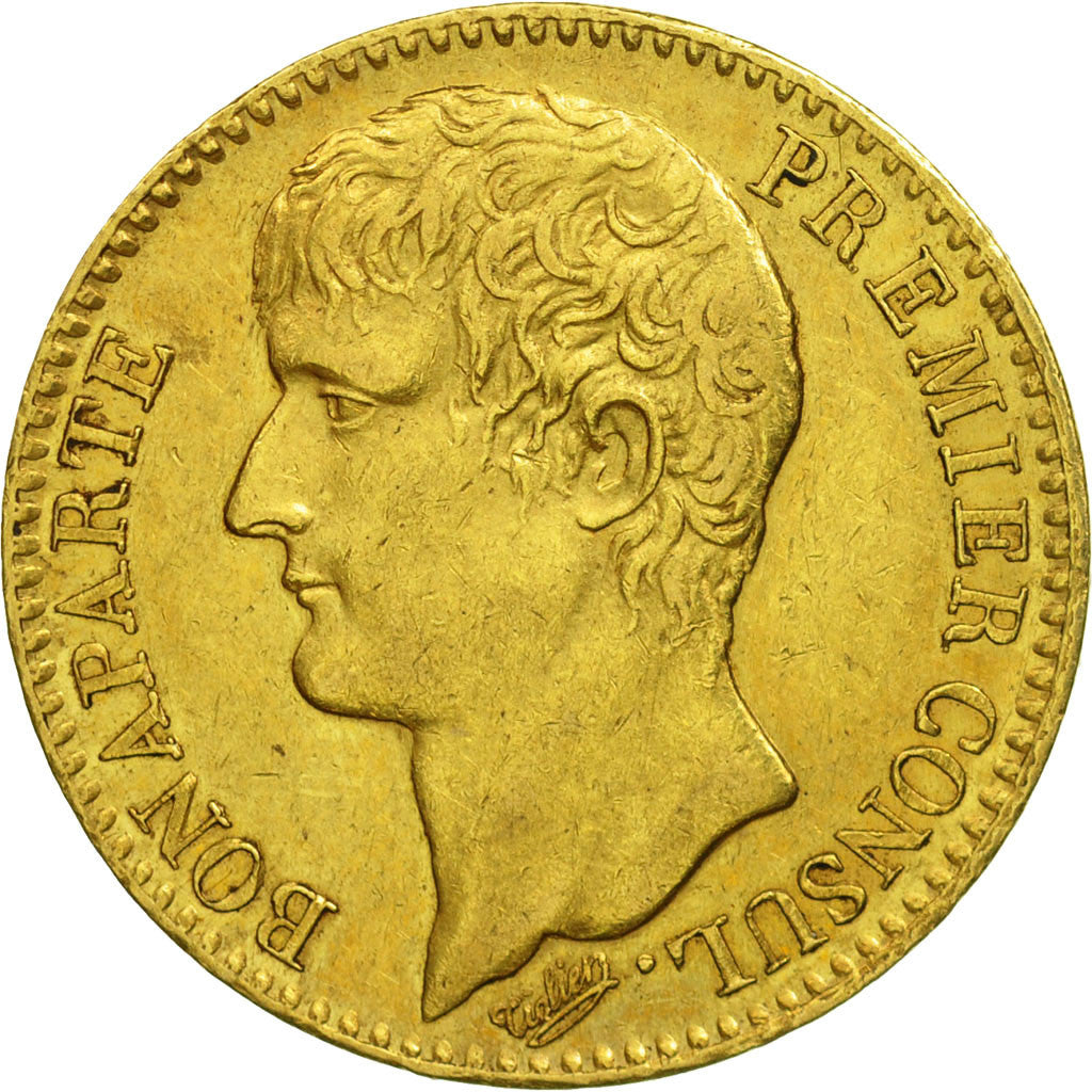 France, Napoléon I, 40 Francs, An IX, 1803, Paris, AU(50-53), Gold, KM:652