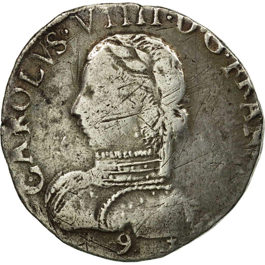 Coin, France, Charles IX, Teston, 1573, Rennes, VF(30-35), Silver, Duplessy:1063