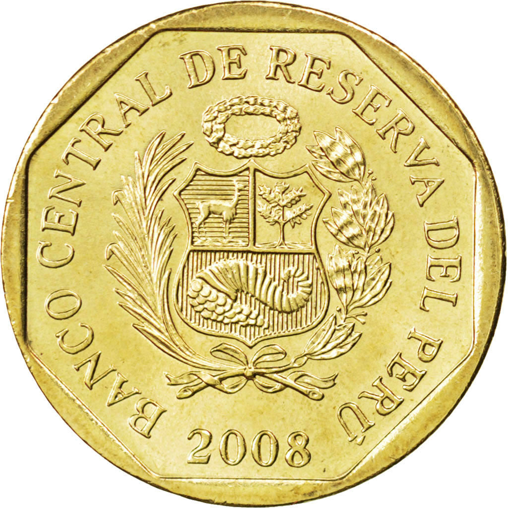 PERU, 10 Centimos, 2008, Lima, KM #305.4, MS(63), Brass, 20.5, 3.53