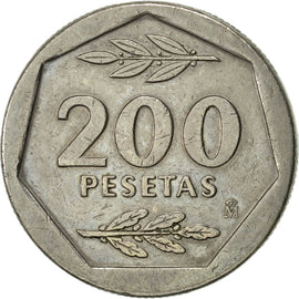 Coin, Spain, Juan Carlos I, 200 Pesetas, 1988, AU(50-53), Copper-nickel, KM:829