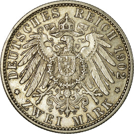 Coin, German States, BADEN, Friedrich I, 2 Mark, 1902, Karlsruhe, EF(40-45)
