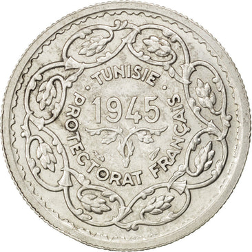 TUNISIA, 10 Francs, 1945, Paris, KM #1, AU(50-53), Silver, Lecompte #343, 10.01