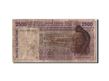 West African States, 2500 Francs, 1992, KM #112Aa, F(12-15), A 9201900264